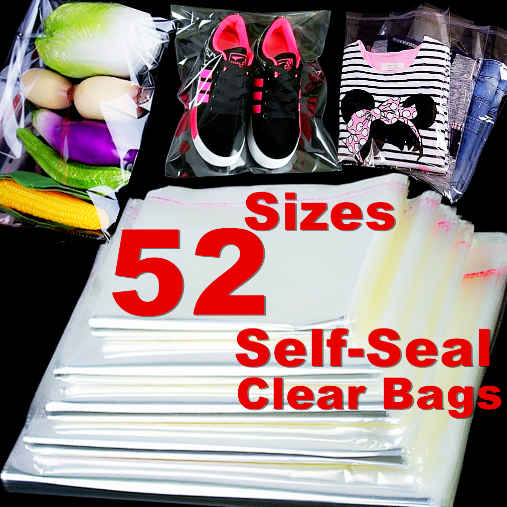 100 Clear Self Seal Storage Bags Travel Luggage Clothes Packing Home O...