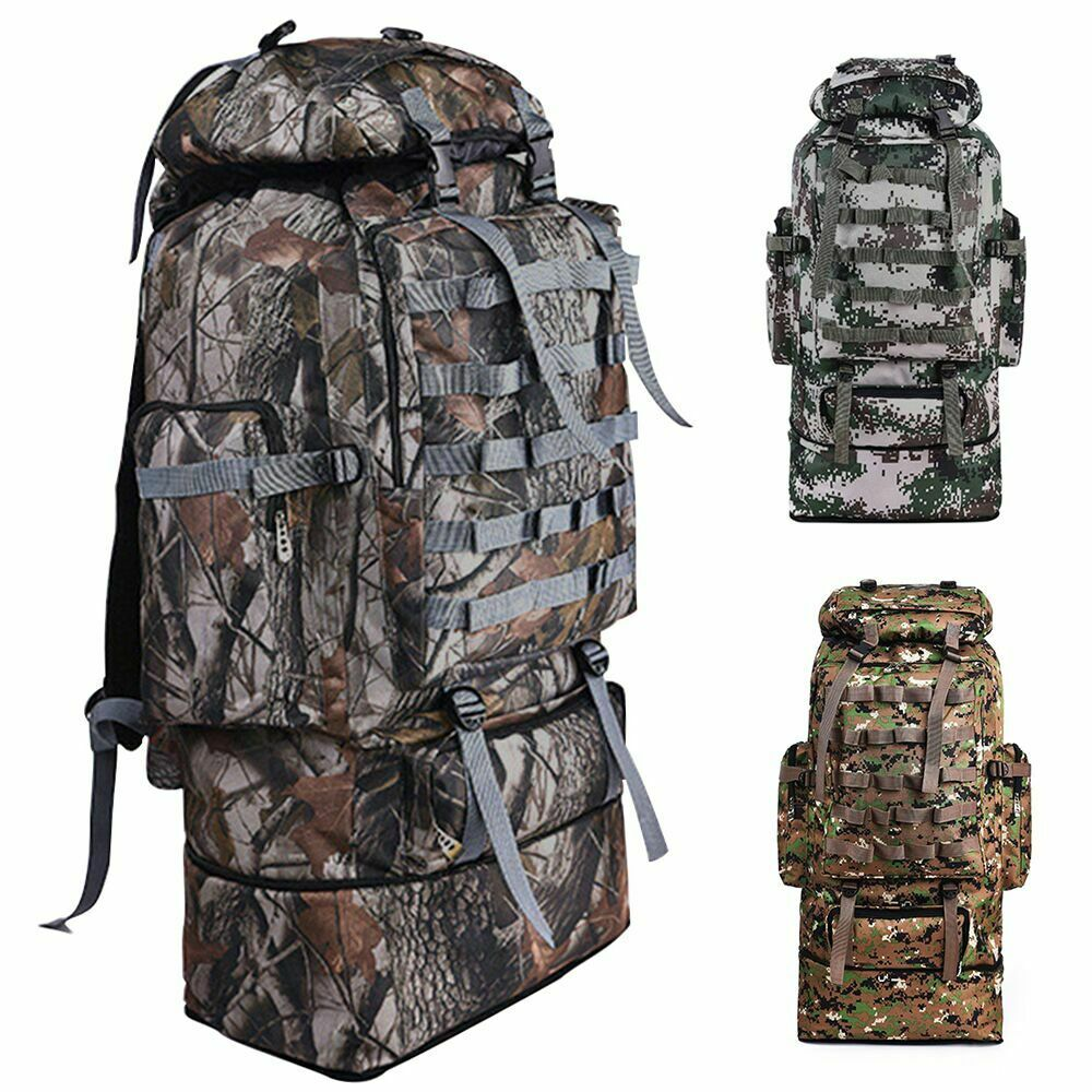 100L Outdoor Hiking Military Tactical Backpack Rucksack Army Camping C...