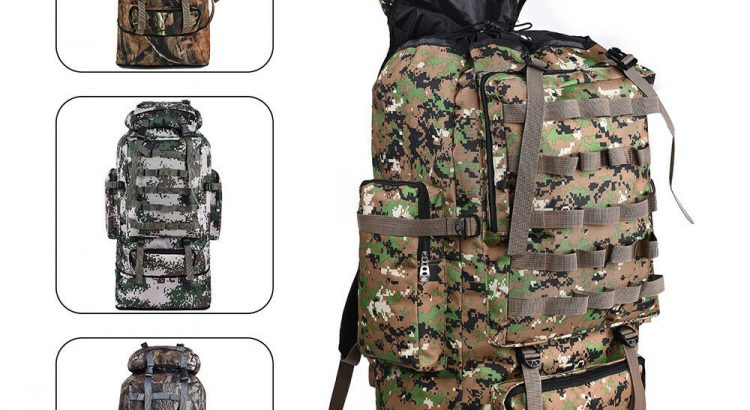 100L Outdoor Waterproof Tactical Camping Backpack Hiking Camping Camo ...
