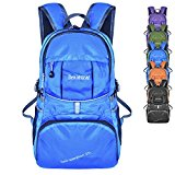 Bekahizar Lightweight Foldable Backpack 35L Ultralight Packable Daypack Durable for Traveling Day Trips exterior Sports Hiking Trekking Camping Cycling (Blue) - 6njvXB