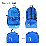 Bekahizar Lightweight Foldable Backpack 35L Ultralight Packable Daypack Durable for Traveling Day Trips exterior Sports Hiking Trekking Camping Cycling (Blue) - 88daTO