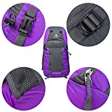 Coreal 35L Large Lightweight Collapsible Packable Travel Hiking Backpack Trekking Bag Purple - Pk0ogi
