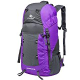 Coreal 35L Large Lightweight Collapsible Packable Travel Hiking Backpack Trekking Bag Purple - UNTWVm