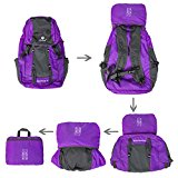Coreal 35L Large Lightweight Collapsible Packable Travel Hiking Backpack Trekking Bag Purple - duBzD7