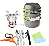 12pcs Camping Cookware Stove Canister Stand Tripod Folding Spork Wine Opener Carabiner Set Bisgear(TM) Exterior Camping Hiking Backpacking Non-stick Cooking Non-stick Picnic Knife Spoon Dishcloth - kFCL52
