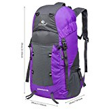 Coreal 35L Large Lightweight Collapsible Packable Travel Hiking Backpack Trekking Bag Purple - kclHVF