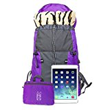 Coreal 35L Large Lightweight Collapsible Packable Travel Hiking Backpack Trekking Bag Purple - pxfzwX