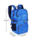 Bekahizar Lightweight Foldable Backpack 35L Ultralight Packable Daypack Durable for Traveling Day Trips exterior Sports Hiking Trekking Camping Cycling (Blue) - v4fSu8