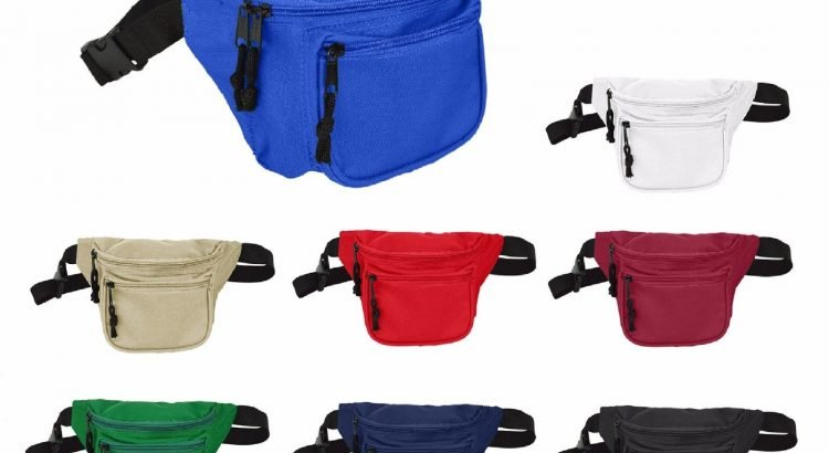 DALIX Fanny Pack with 3 Pockets Blue Black Maroon Travel Waist Pouch A...