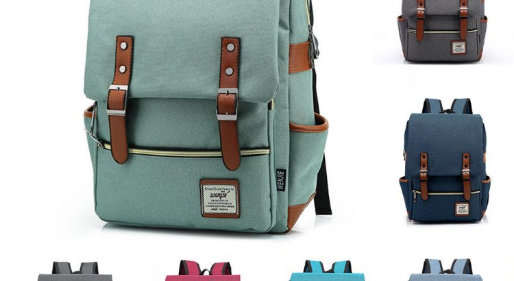 Canvas Laptop Backpack School Travel Hiking Rucksack Pack Satchel Shou...
