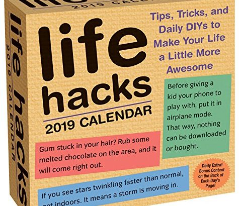 Life Hacks 2019 Day-to-Day Calendar - Life Hacks 2019 Day to Day Calendar 475x410
