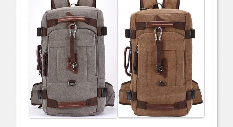 Aidonger Canvas Backpack Vintage Canvas School Backpack Hiking Travel ...