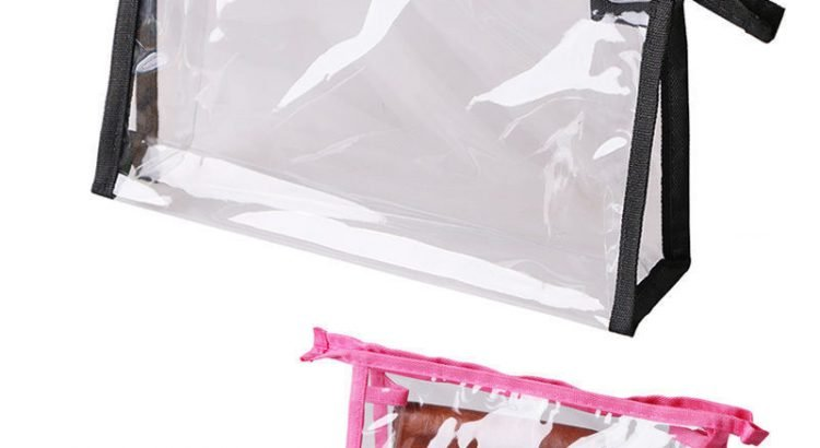 Transparent Cosmetic Bag Clear Plastic PVC Travel Cosmetic Make Up Toi...