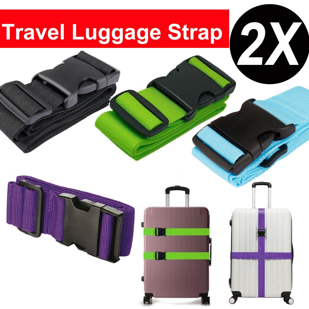 2PCS Travel Luggage Packing Belt Suitcase Strap Baggage Backpack Bag S...