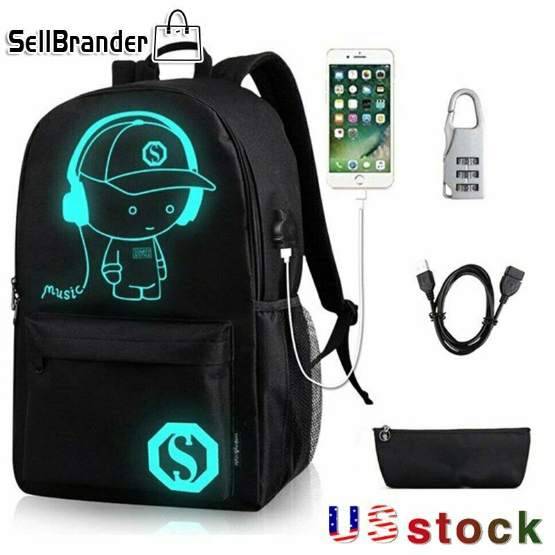 2PCS/Set Anime Luminous SchoolBag Anti-Theft Lock USB Charging Backpac...