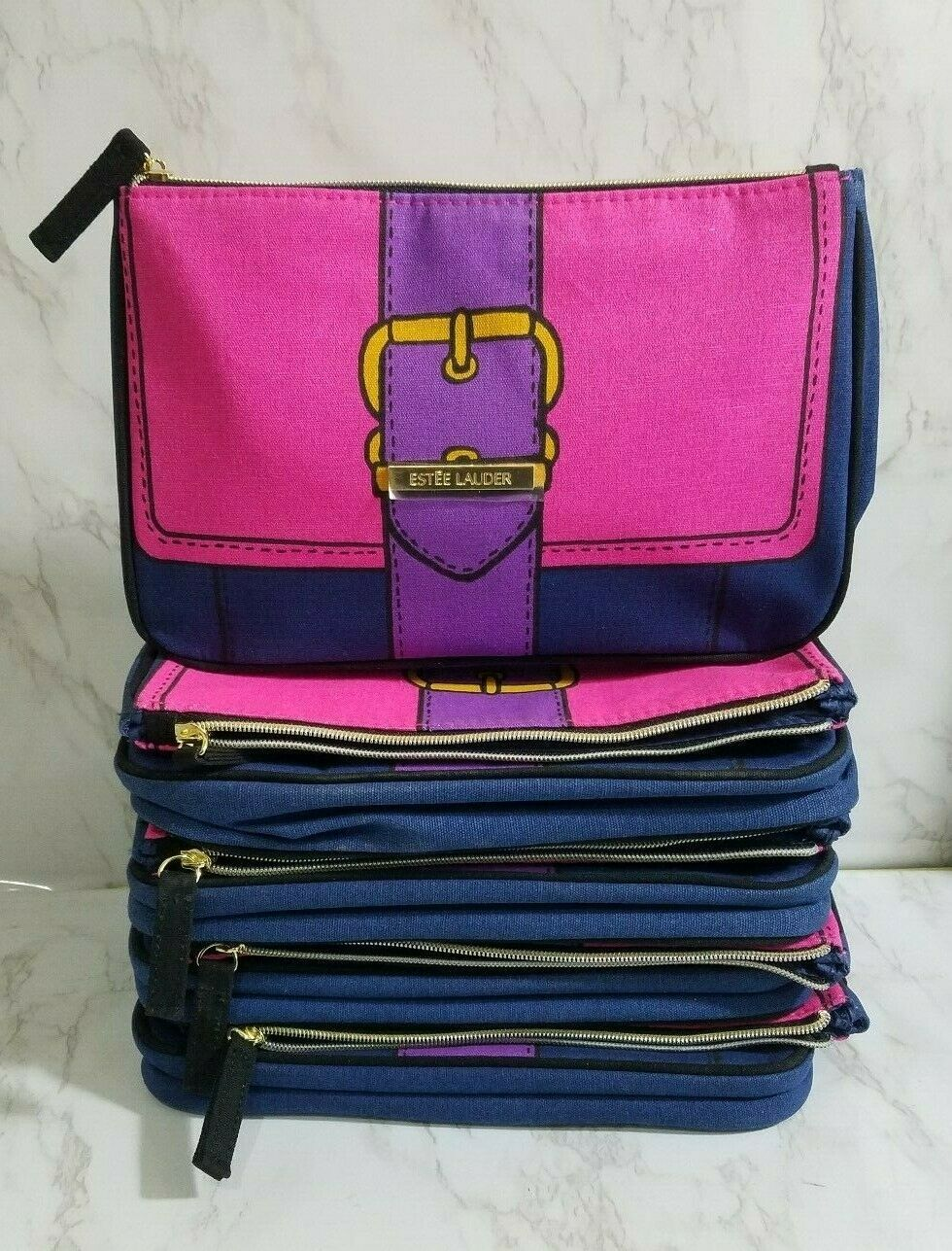 30 X ESTEE LAUDER PINK BUCKLE DESIGN MAKEUP COSMETIC TRAVEL POUCH BAG ...