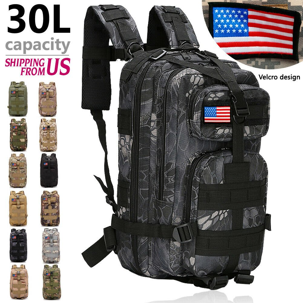 30L Outdoor Military Molle Camping Backpack Tactical Camping Hiking Tr...