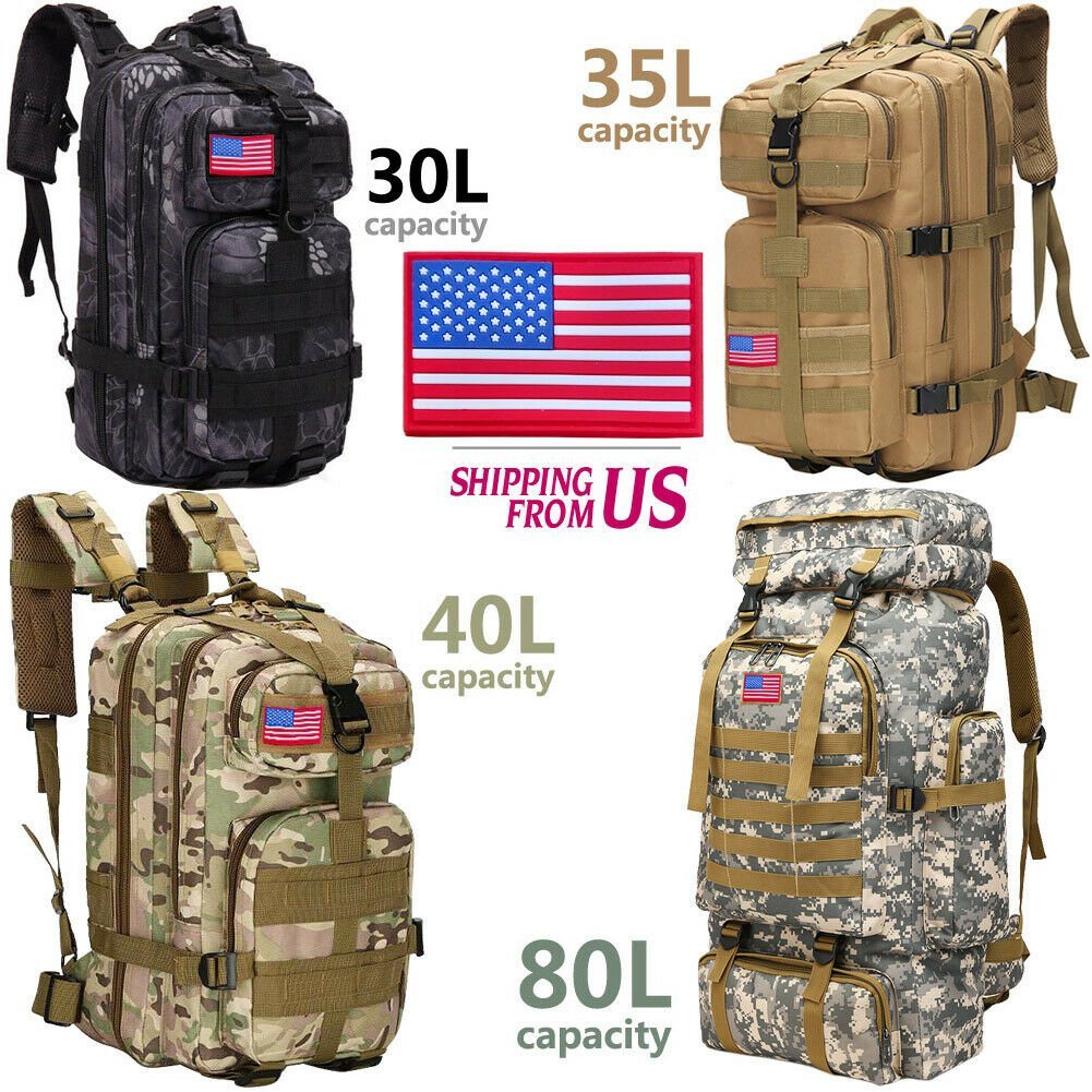 30L/35L/40L/80L Military Outdoor Tactical Shoulder Backpack Camping Hi...