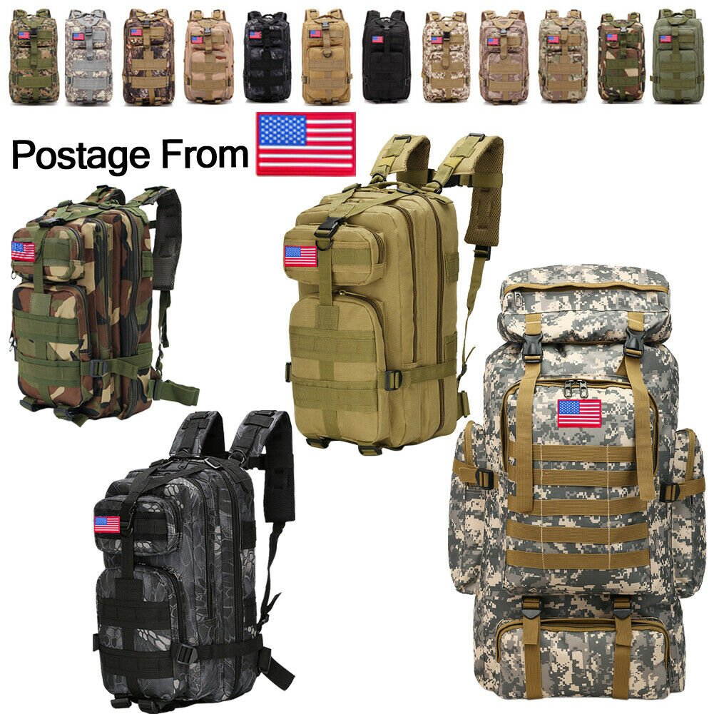 30L/40L/70L/80L Military Tactical Rucksack Backpack Hiking Camping Out...