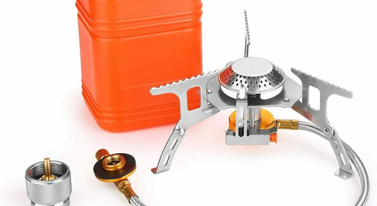 3700W Portable Backpacking Camping Gas Stove with Piezo Ignition, Burn...