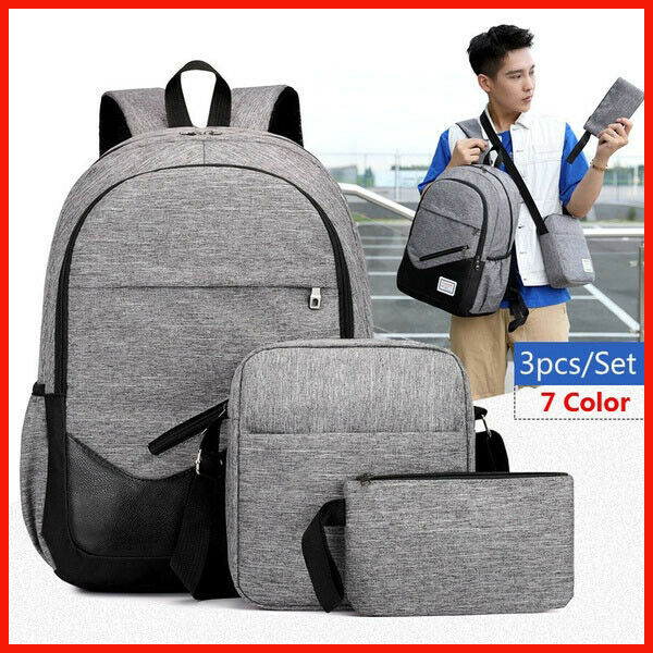 3Pcs Leather Patch Backpack Lightweight Canvas Bookbags Laptop Backpac...