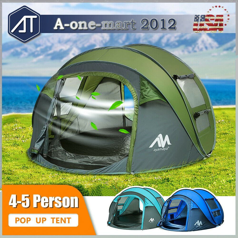 4-5 Person Family Pop Up Camping Tent Waterproof Backpacking Hiking In...