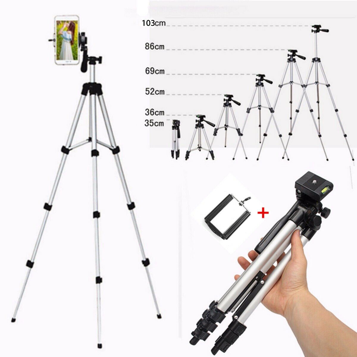 40'' Portable Travel/Camera/Phone Tripod with Carry Bag for iPhone