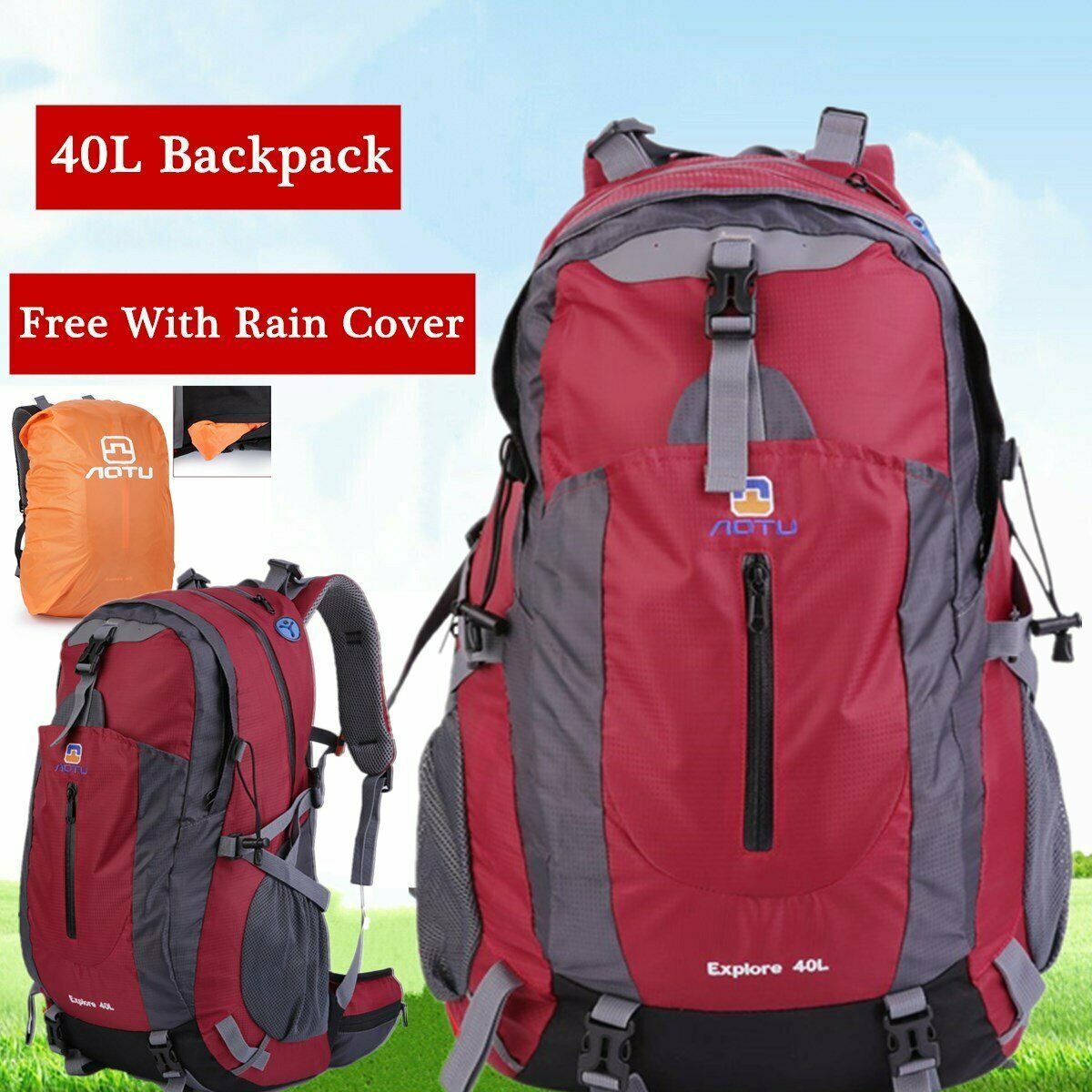 40L Waterproof Travel Backpack Outdoor Hiking Camping Daypack Sports R...