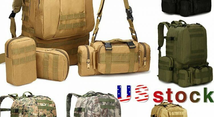 50L Tactical 4 in 1 Military Outdoor Hiking Backpacks Trekking Camping...