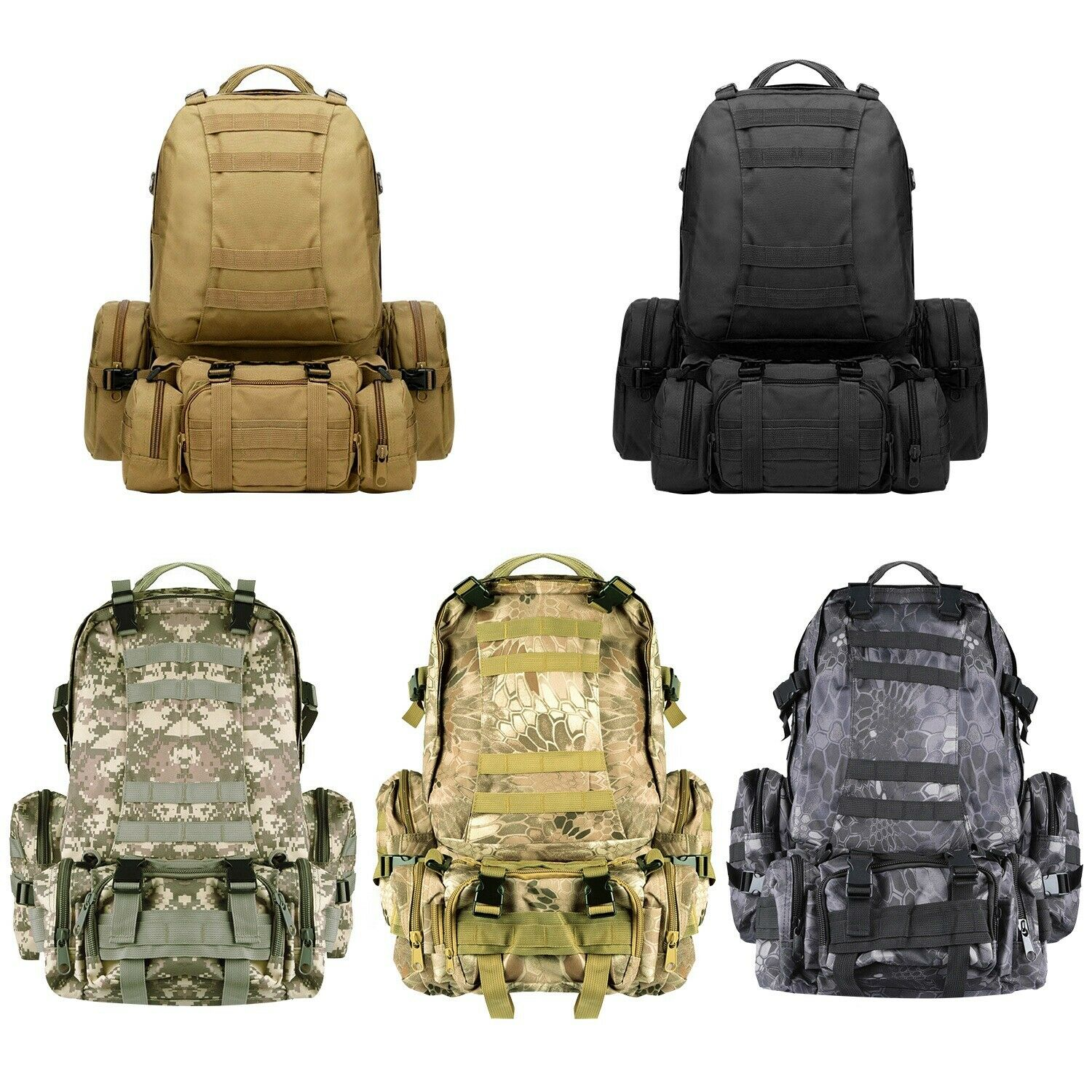 56L 4in1 Molle Outdoor Military Tactical Bag Camping Hiking Trekking B...