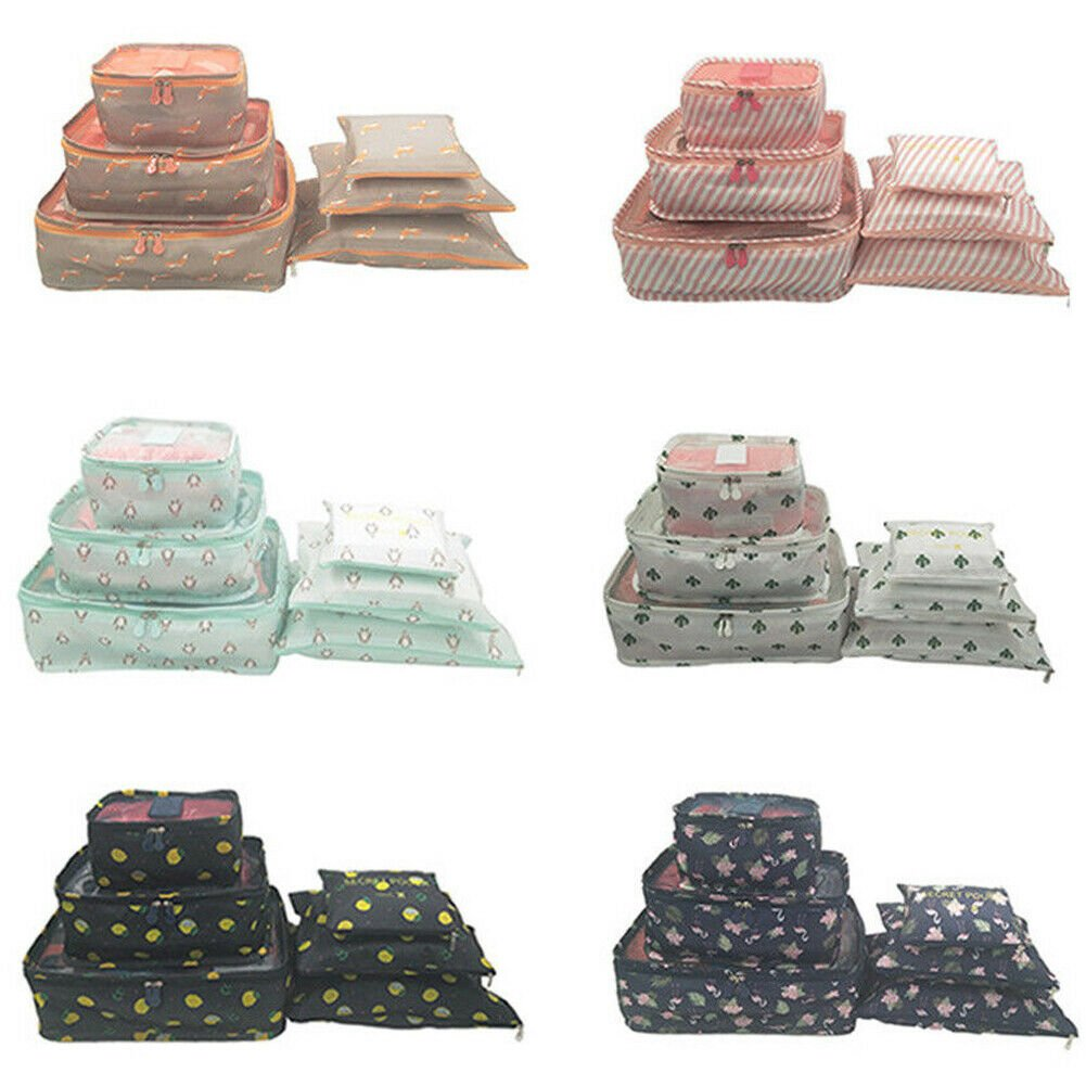 6 Waterproof Packing Cube Compression Clothes Storage Bag Travel Inser...