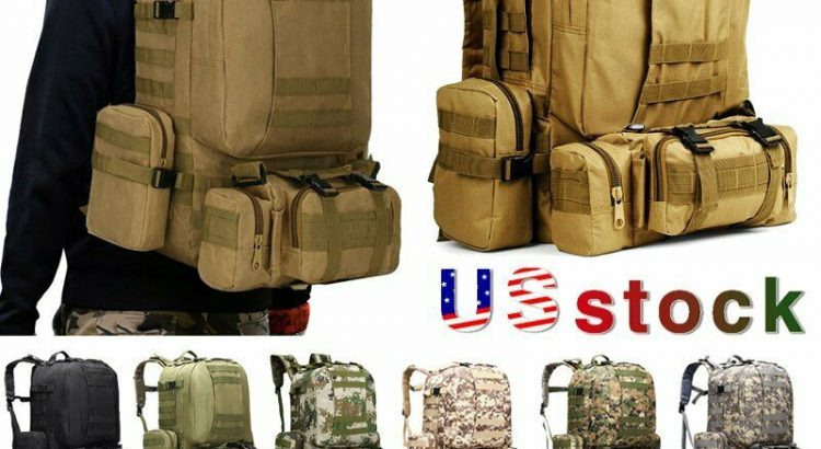 60L Outdoor Tactical Military Molle Backpack Rucksack  Travel Camping ...