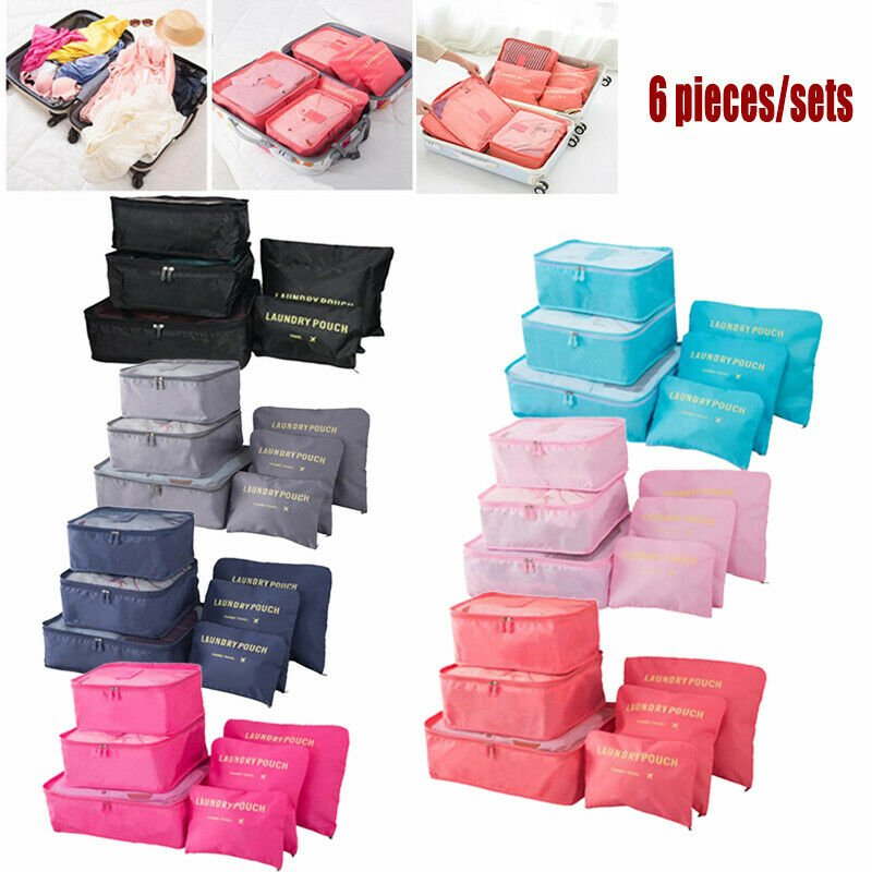 6Pcs Clothes Underwear Socks Packing Cube Storage Travel Luggage Organ...