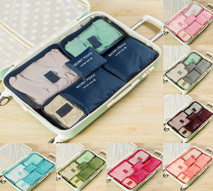 6Pcs Waterproof Storage Clothes Organizer Bags Packing Pouch Cube Trav...