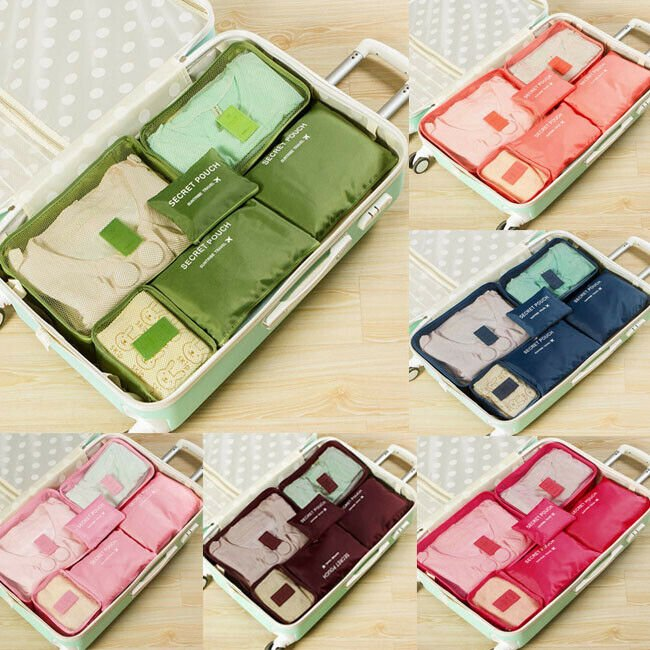 6Pieces Set Luggage Organiser Suitcase Storage Bags Packing Travel Cub...