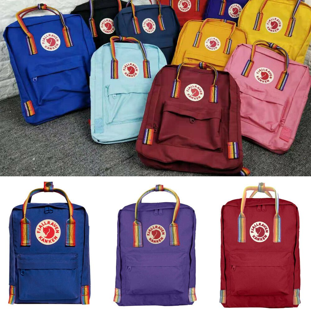7L/16L Fjallraven Kanken Rainbow Backpack Handbag Outdoor Travel Water...