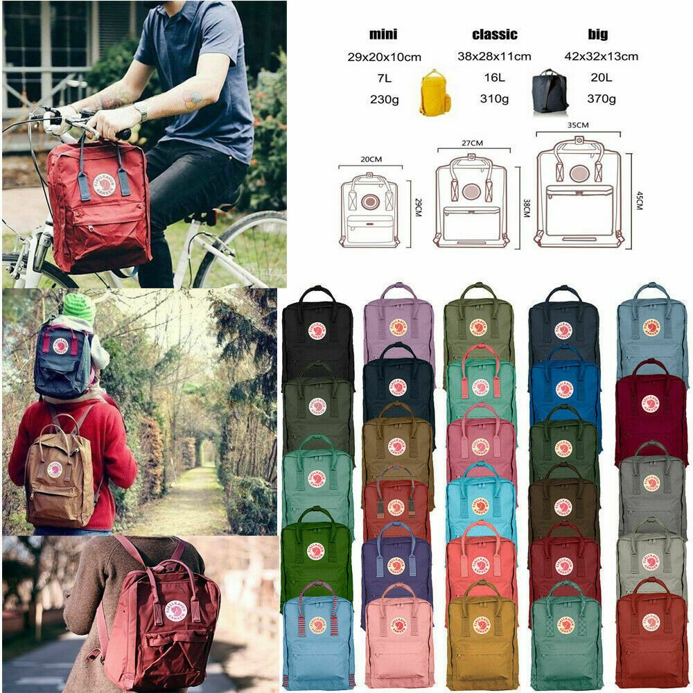 7L/16L/20L Classic Fjallraven Kanken Canvas Backpack Sport Shoulder Ba...