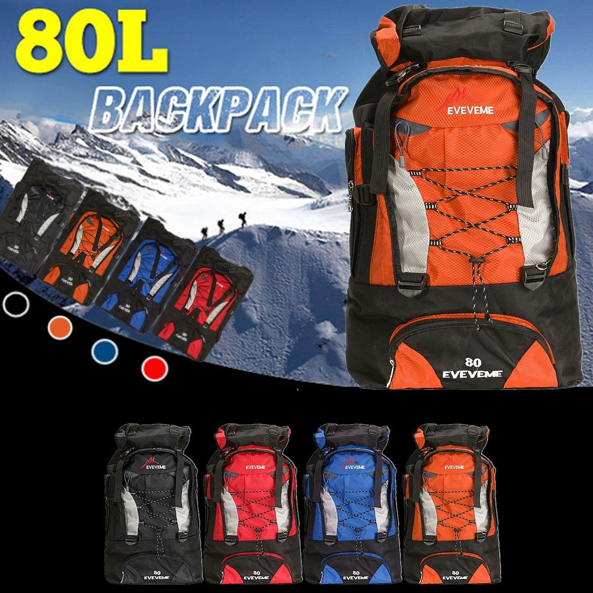 80L Waterproof Backpack Shoulder Hiking Bag Pack Outdoor Camping Trave...