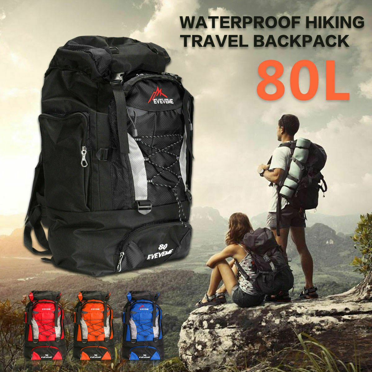 80L Waterproof Outdoor Backpack Sport Rucksack Travel Daypack Camping ...