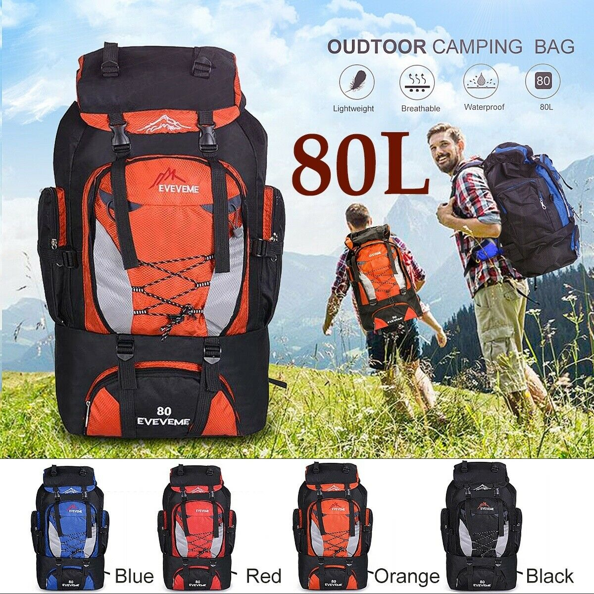 80L Waterproof Sport Backpack Rucksack Outdoor Travel Daypack Camping ...