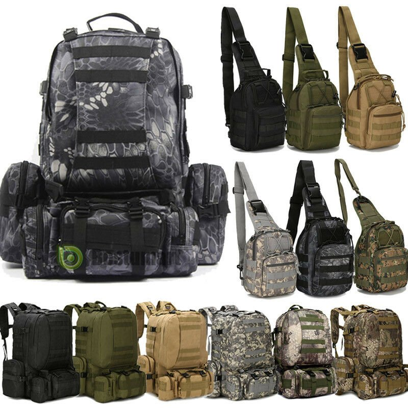 8L/10L/55L Outdoor Molle Military Tactical Camping Hiking Trekking Bag...