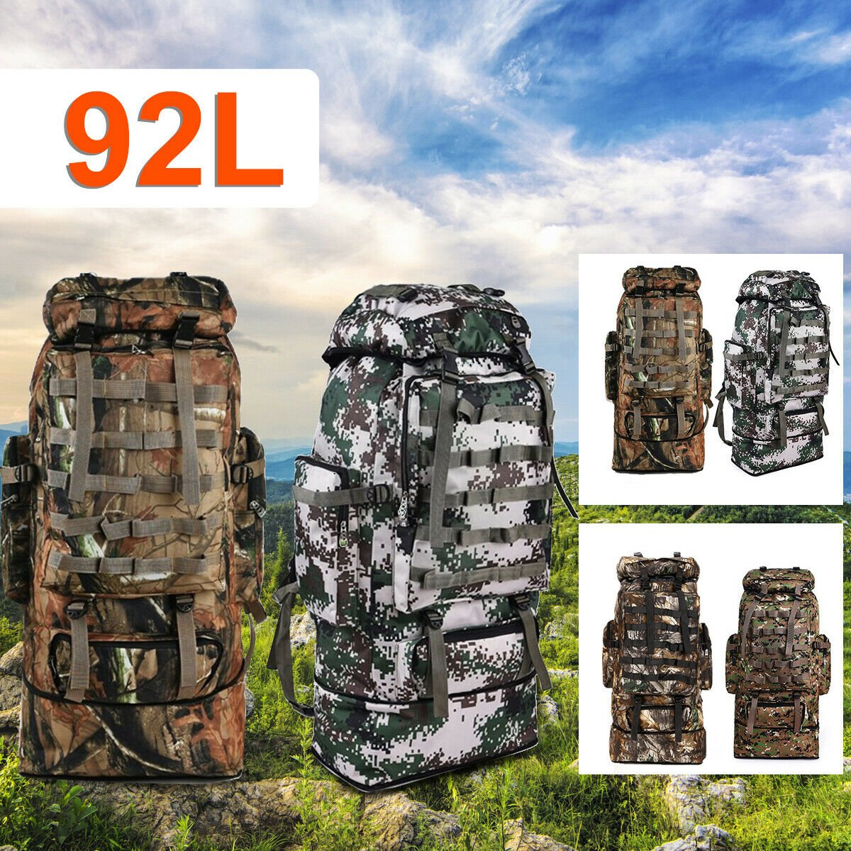 92L Men Outdoor Military Tactical Bag Camping Hiking Trekking Backpack...