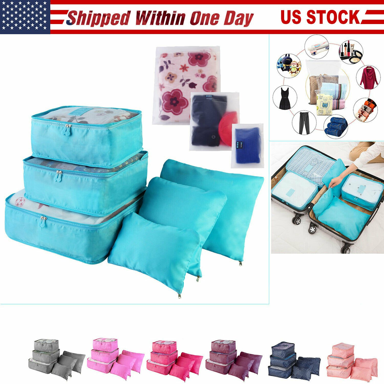 9PC/Set Luggage Clothing Travel Storage Bags Pack Cube Organizer Water...