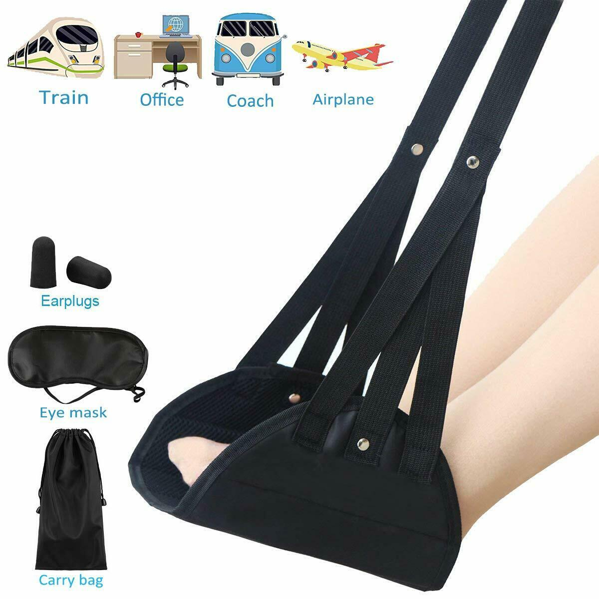 Airplane Footrest Travel Accessories Foot Leg Rest Hammock Portable Wi...
