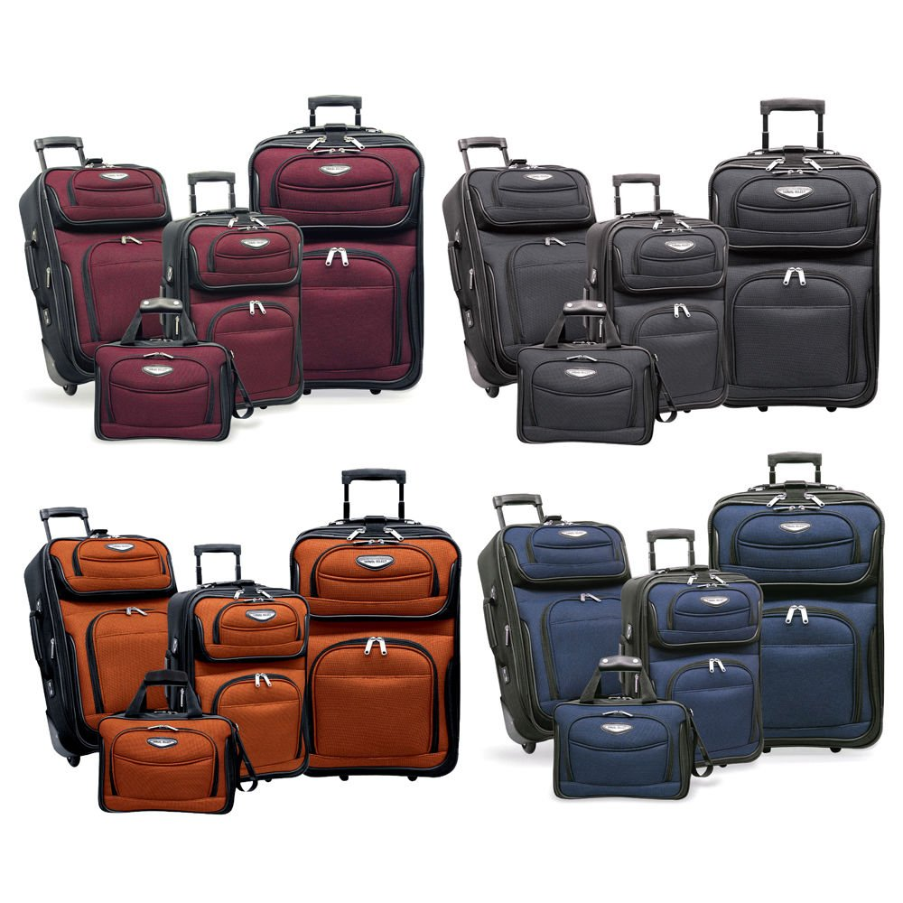 Amsterdam 4-Piece Light Expandable Rolling Luggage Suitcase Tote Bag T...