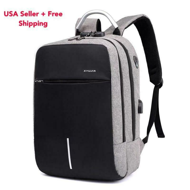 Anti-theft Mens USB w/ Charger Port Backpack Laptop Notebook Travel Sc...