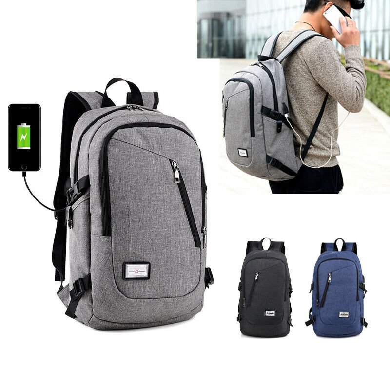 Anti-theft Mens USB with Charger Port Backpack Laptop Notebook Travel ...