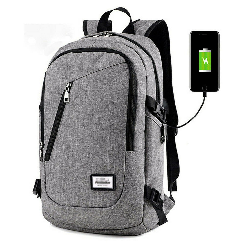 Anti-theft Mens Womens USB Charging Backpack Laptop Notebook Travel Sc...