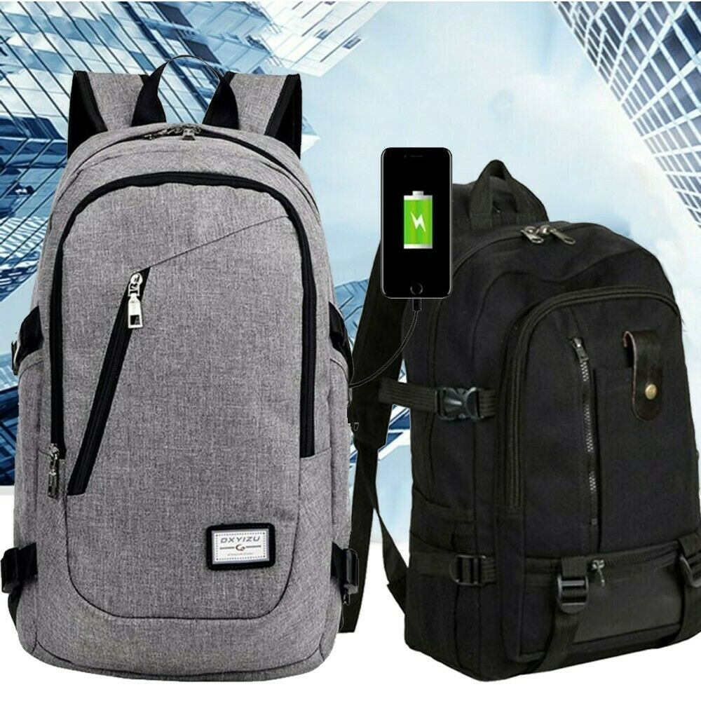Anti-theft Unisex USB Charging Backpack Laptop Notebook Travel Hiking ...