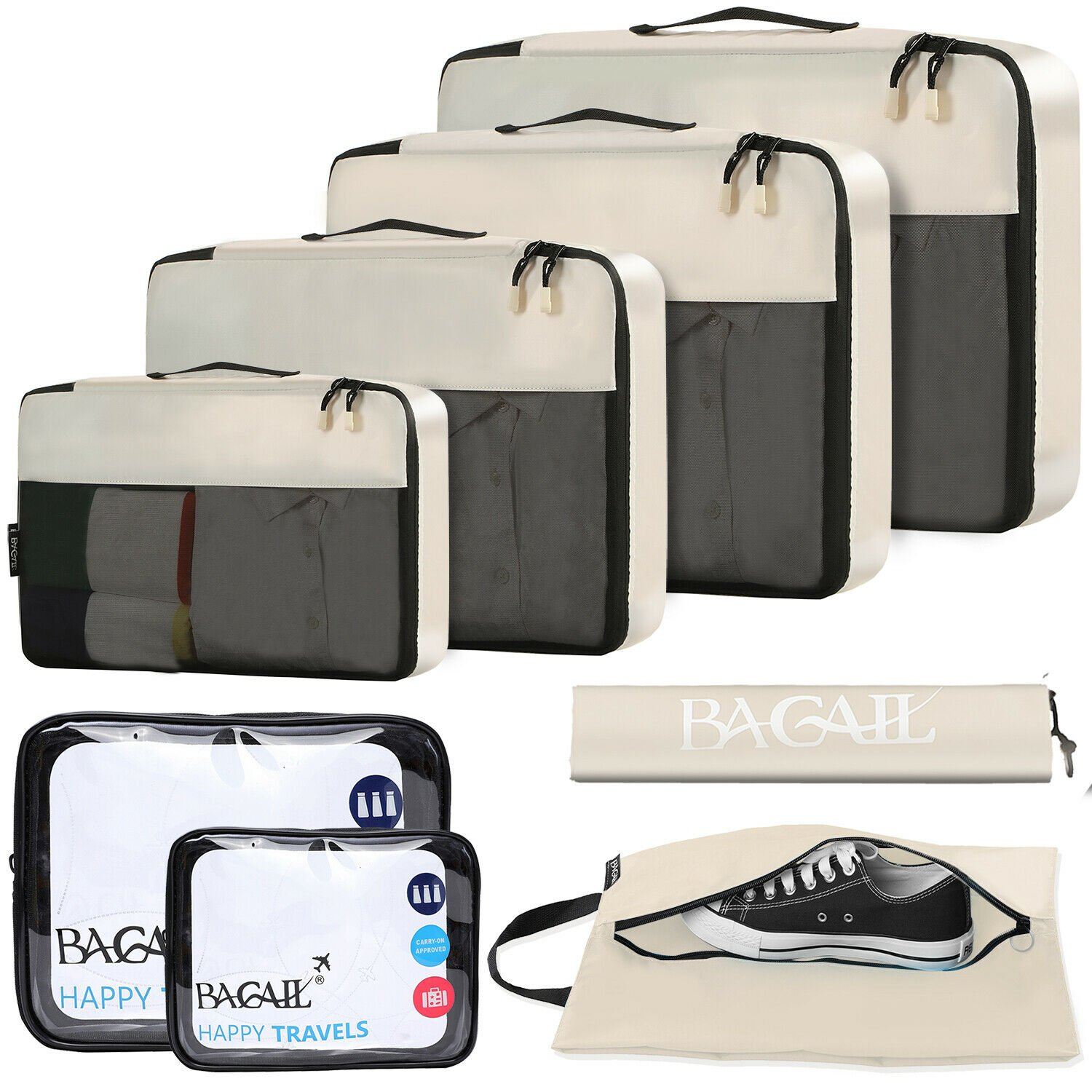 BAGAIL 6 / 8 Set Packing Cubes Luggage Packing Organizers for Travel S...